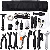 YBEKI Kit Herramientas Bicicleta, Reparación de pinchazos Bicicleta, Mini Pump, Multi-Herramienta, Herramienta para Cadena, removedor de Volante de Bicicleta, etc
