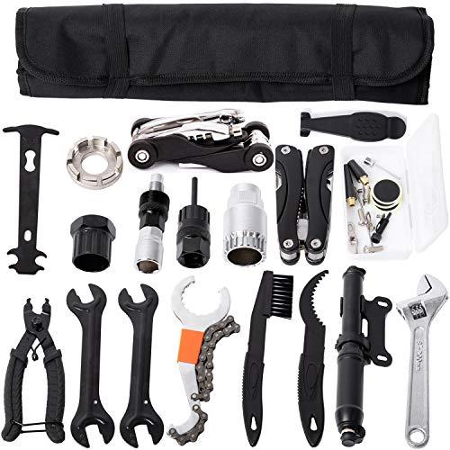 YBEKI Bike Tyre Repair Tool Kit Set - Bicycle Tool kit with Mini Pump, Bike Multi-Tool, Chain Tool Bike Freewheel Remover, etc. 6 Months Warranty