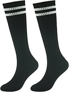 Youth Soccer Socks Fasoar Teens Knee High Football Socks Long Striped Rugby Tube Socks 2/6/10 Pairs