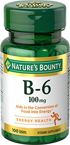 Nature's Bounty Vitamin B6 Supplement, Metabolism and Nervous System Health, 100 Tablets