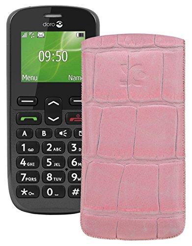 Original Suncase Tasche für / Doro PhoneEasy 508 / Leder Etui Handytasche Ledertasche Schutzhülle Hülle Hülle *Lasche mit Rückzugfunktion* croco-rosa
