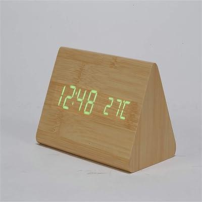 YYGZ Despertador Reloj de sobremesa de Madera Led silenciador Despertador electrónico Creativo Madera A Tiempo