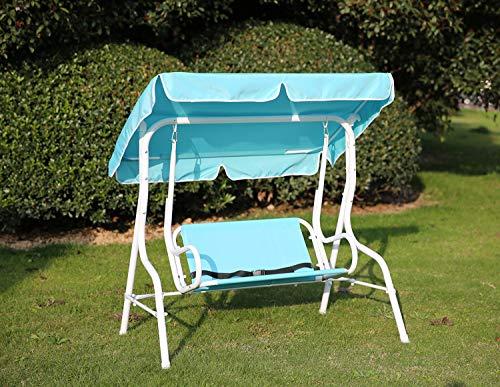 Angel Living 5861030 Kinder Hollywoodschaukel mit Sitzgurt 2 Sitzer Gartenschaukel mit Sonnenschutz aus Stahl (blau)
