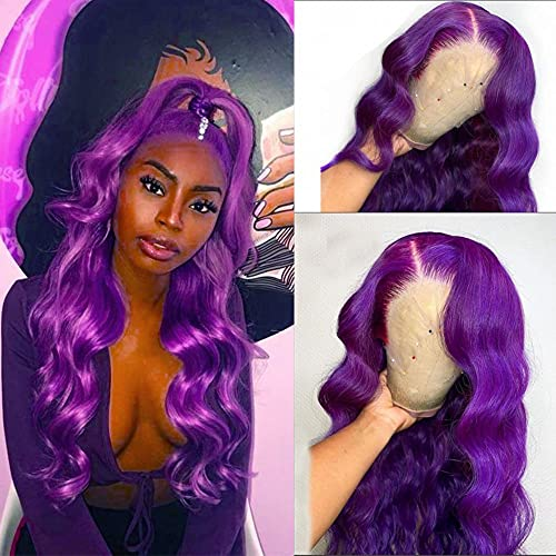 Purple Lace Front Wig Long Wavy Wig Purple Wig Long Body Wave Wig For Women 13x3 Lace Front Synthetic Water Wave Wig Colored Wigs Natural Middle Part Daily Party Halloween Cosplay Use