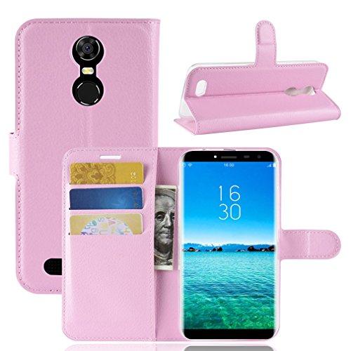 LMFULM® Hülle für OUKITEL C8 3G / 4G (5,5 Zoll) PU Leder Magnetverschluss Brieftasche Lederhülle Handytasche Litschi Muster Standfunktion Ledertasche Flip Cover für OUKITEL C8 Rose