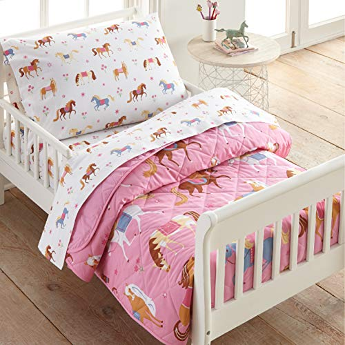 Wildkin 100% Cotton 4 Piece Toddler Bed-in-A-Bag for Boys & Girls, Bedding Set Includes Comforter, Flat Sheet, Fitted Sheet & Pillowcase, Bed Set for Cozy Cuddles, BPA-Free (Horses)