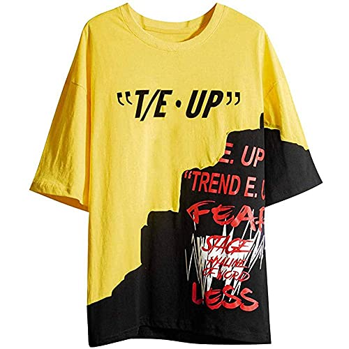 WANCHDP Camiseta para hombre, estilo hip hop, camiseta de verano, patchwork, cuello redondo, manga corta, diseño de moda urbana, tallas S-2XL amarillo XXL