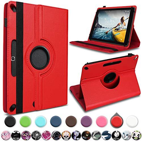 UC-Express Medion Lifetab E10430 E10714 E10414 E10604 E10412 E10511 E10513 E10501 Tablet Hülle Tasche Schutzhülle Cover 360° Drehbar, Farbe:Rot