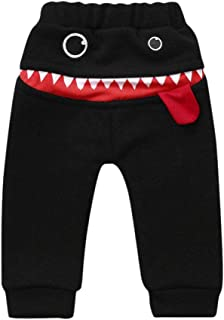 Zerototens Boys Kids Toddler Baby Thick Warm Soft Plush Pants Trousers Elasticated Cuff Casual with Pockets Jogging Bottoms Cartoons Big Shark Tongue Sweatpants Age 9 Months-3 Years