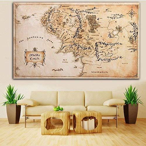 Inovey 110X60Cm Mapa De La Tierra Media Señor De