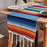 Mexican Tablecloth Serape Runner Tatami Table Cover Picnic Mat for Mexican Party Wedding Decorations,14x84 Inch(14x84),Blue