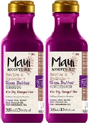 Maui Moisture Revive & Hydrate Sheabutter Shampoo x 385 ml & Maui Moisture Revive & Hydrate Shea Butter Conditioner, 385 ml, 2er-Pack, für trockenes, beschädigtes Haar