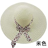 Mujeres Floppy Plegable Big Bowknot Sombrero De Paja Sun Roll Up Wide Large Brim Summer Beach Cap Protección Solar 17 Colores, Crema