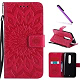 Moto X Style Case,Motorola Moto X Pure Edition Case,LEECOCO Fancy Embossed Floral Pattern Wallet Case with Card/Cash Slots PU Leather Flip Stand Case for Motorola Moto X Style Mandala Red