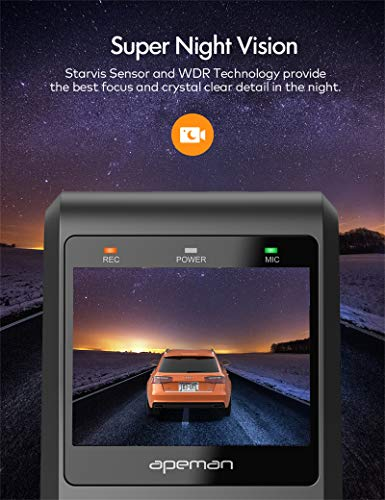 APEMAN Dash Cams, Front and Rear, Support GPS 1080P Full HD Dual Lens Car Camera with IPS Screen, Dual Dash Cam with 170°Wide Angle, G-sensor, WDR, Night Vision, Motion Detection, Parking Monitoring