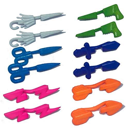Set 6 paia orecchini senza buco/foro anni 80' colori FLUO