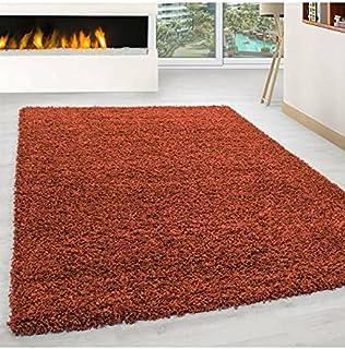 Hoogpolig langpolig woonkamer shaggy tapijt poolhoogte 3cm effen kleur terra - 140x200 cm