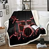 Drum Kit Throw Blanket Boys Girls Rock Music Themed Fleece Throw Blanket Teens Red Black Musical Pattern Decor Sherpa Blanket for Bed Sofa Couch Bedroom Instruments Print Fuzzy BlanketThrow 50'x60'