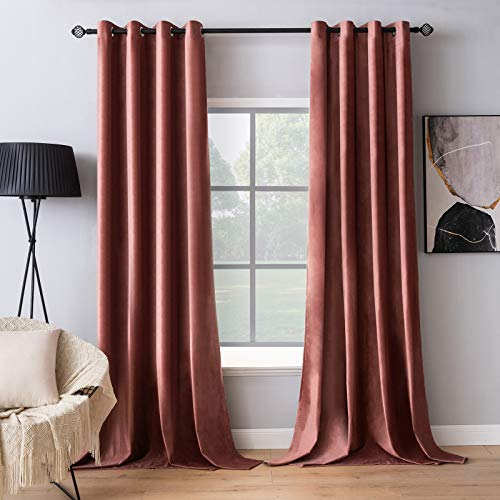 MIULEE Elegant Velvet Curtains Dry Rose Pink Grommet Curtains Thermal Insulated Soundproof Room Darkening Blackout Curtains / Drapes for Girls & Ladys Living Room/Bedroom Decor 52 x 84 Inch 2 Panels