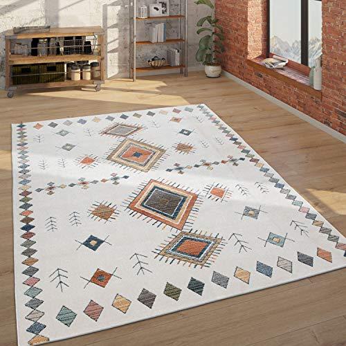 Alfombra, Alfombra De Pelo Corto para Salón, Diseño Étnico, Efecto 3D, Beige, tamaño:160x230 cm