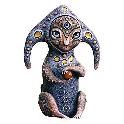 Fantasía World - Esculturas de resina para decoración de criaturas de colores Werid, para el hogar, al aire libre, interior, jardín, jardín, jardín, césped, estante
