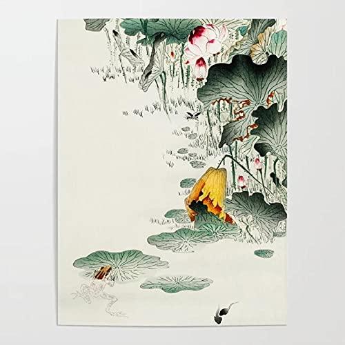 YYBFQZ Kunstdruck Poster wohnkultur Druck leinwand malerei Vintage wandkunst Frosch im sumpf Bilder für Wohnzimmer Poster nordische Blumen und Tiere Wohnzimmer Schlafzimmer...