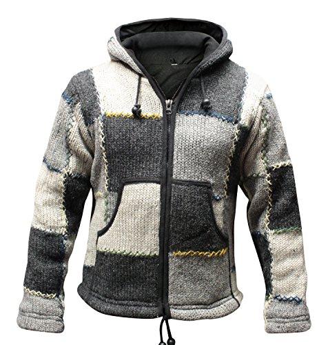 Shopoholic Fashion - Giacca con cappuccio Supercosy Festival, in lana nepalese patchwork colorata, Hippy Boho Grey Mix Medium
