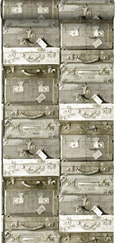 behang vintage koffers lichtbruin - 138213 - van ESTAhome