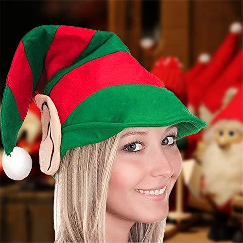 Julyfun Sombrero de Duende navideño, Sombreros de Santa Nuevos Sombreros para Hombre y Mujer Jester Elf Verde y Rojo Sombreros de Duende navideño a Rayas con Orejas para niños/Adultos