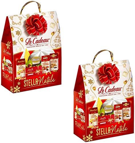 Le Cadeau Confezione Stella di Natale con Cioccolatini Lindt , CESTO NATALIZIO, OFFERTA MULTIPACK X2