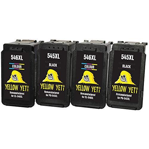Yellow Yeti PG-545XL CL-546XL Cartuchos de Tinta remanufacturados (2 Negro, 2 Color) para Canon Pixma MG2450 MG2550 MG2550S MG2555S MG2950 MG3050 MG3051 MG3052 MX495 iP2850 TR4550 TR4551 TS205 TS3150