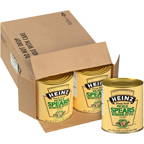 Heinz Dill Pickle 1/4 inch Spears #10 Can (99 fl oz Cans, Pack of 6)