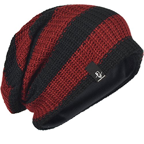 FORBUSITE Mens Slouchy Long Beanie Knit Cap for Summer Winter, Oversize, Burgundy with Black