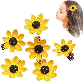 8 Pieces Cute Sunflower Hair Clips for Girls Toddlers Kids Elastic Hair Bands Accessories