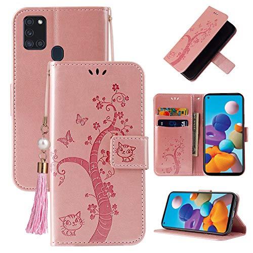 Miagon Brieftasche Flip Hülle für Samsung Galaxy A21S,Schön Schmetterling Baum Katze Design PU Leder Buch Stil Stand Funktion Handyhülle Case Cover,Roségold