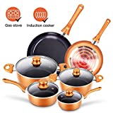 10pcs Cookware Set Non-stick Frying Pans Set Ceramic Coating Soup Pot, Milk Pot, Copper Aluminum Pan with Lid Gas Induction Compatible, 1 Year After sale service