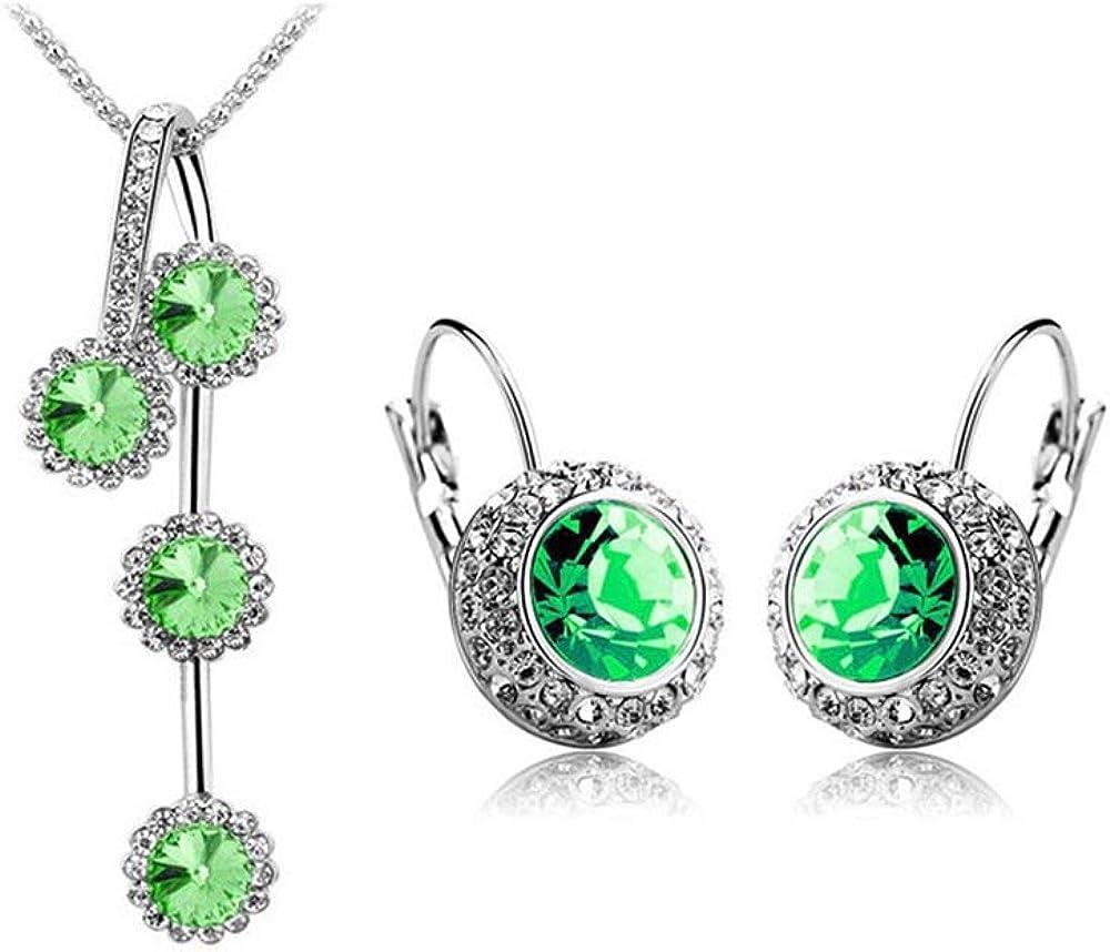 PLMM Collection Austrian Crystal Rhinestones Earrings Necklace Set Classic Elegant Women Jewelry