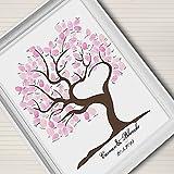 Lienzo con diseño de árbol con huellas dactilares para usar como decoración de boda o regalo (incluye 12colores de tinta), 35x50cm