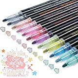 Double Line Outline Pens - 12 Colors Self Outline Metallic Markers Double Line Pen, Outline Markers Pens for Art, Drawing, Greeting Cards, Craft Projects, Posters, Painting, Kid Journal, Self Journal