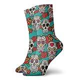 Calcetines con patrón de calaveras de azúcar y rosas para correr, senderismo, todos los días