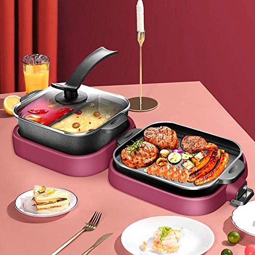 DBM-CXG 2000W Foldable Electric Smokeless Grill and Hot Pot, Anti-Scald Non-Stick Holloware with Divider Non-Stick Coating Separate Dual Temperature Contral Korean BBQ Grill Shabu Pot for 5-6 People