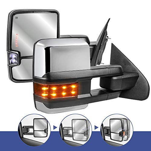 MOSTPLUS Power Fold Chrome Towing Mirrors Compatible for 2014-2018 GMC Serria Chevy Silverado w/Turn light, Clearance Lamp(Set of 2) Not for Diesel Truck