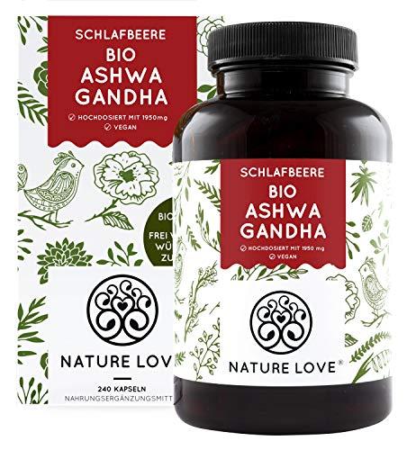 NATURE LOVE® Bio Ashwagandha - Einführungspreis - Hochdosiert mit 1950mg je Tagesdosis - 240 Kapseln - Premium: Original indische Schlafbeere - Laborgeprüft
