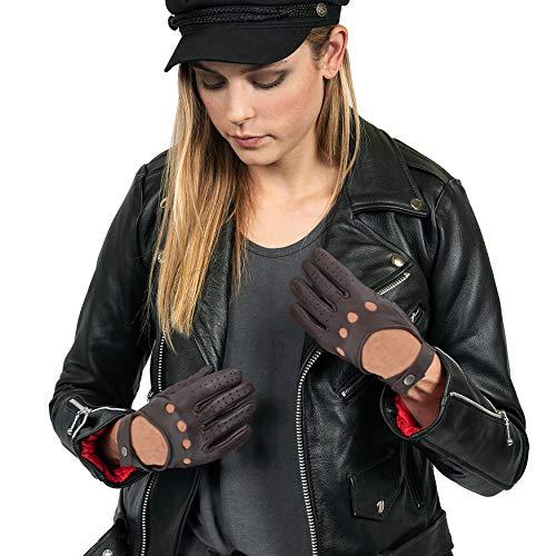 Miracle TM Deerskin Biker-Handschuhe für Herren – Damen, echtes Leder Motorrad-Reithandschuhe - - XL