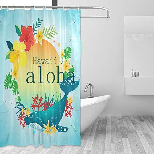 Montoj Wal mit Hawaii Aloha Home Decor Duschvorhang Badvorhang Stoff Badezimmer Dekor Set mit Haken, 177,8 cm, langlebig & super-wasserdicht, 1 Panel 167,6 x 182,9 cm