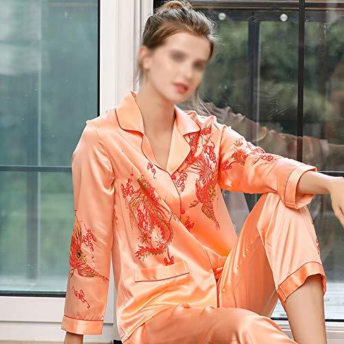 Seda Pura Pijamas Conjunto Otoño Invierno Top de Manga Larga y Pantalones Seda de Mora PJ Set para Parejas Orange-L