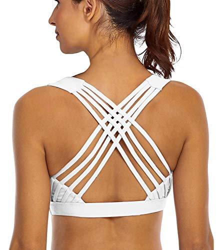 YIANNA Sports Bras for Women - Medium Support Strappy Sports Bra Padded for Yoga, Running, Fitness - Athletic Gym Tops,YA-BRA147-White-S