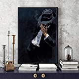 WKHRD Cool Man Canvas Oil Painting Smoking Man in Black Suit Poster and Prints Painting Wall Pictures for Home Living Room Decoration|40x60cm/No Frame