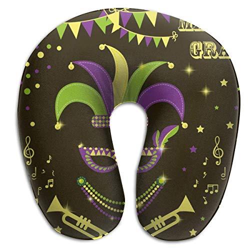 LXJ-CQ Almohada para el Cuello Mardi Gras Carnaval Festival Mscara Corona Disfraz de msica En Forma de U Almohada de Viaje Diseo ergonmico Contorneado Funda Lavable