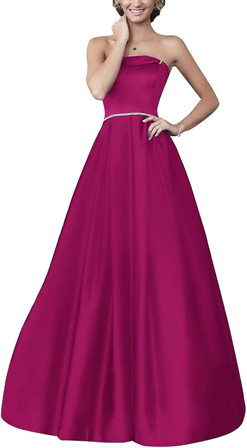 Staypretty Satin Prom Gowns for Women Long Aline Beaded Formal Gown Formal Dresses with Pockets